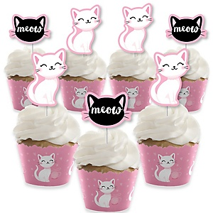 Purr-fect Kitty Cat - Cupcake Decoration - Kitten Meow Baby Shower or Birthday Party Cupcake Wrappers and Treat Picks Kit - Set of 24
