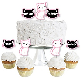 Purr-fect Kitty Cat - Dessert Cupcake Toppers - Kitten Meow Baby Shower or Birthday Party Clear Treat Picks - Set of 24