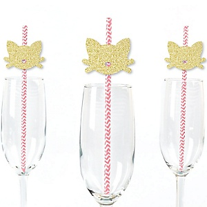 Gold Glitter Cat Party Straws - No-Mess Real Gold Glitter Cut-Outs and Decorative Purr-fect Kitty Cat/Kitten Meow Baby Shower or Birthday Party Paper Straws - Set of 24
