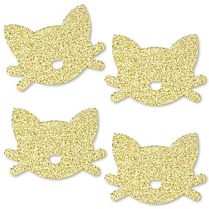 Gold Glitter Cat - No-Mess Real Gold Glitter Cut-Outs - Purr-fect Kitty Cat/Kitten Meow Baby Shower or Birthday Party Confetti - Set of 24