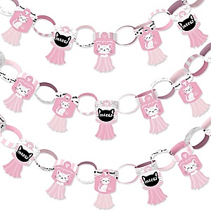 Purr-fect Kitty Cat - 90 Chain Links and 30 Paper Tassels Decoration Kit - Kitten Meow Baby Shower or Birthday Party Paper Chains Garland - 21 feet