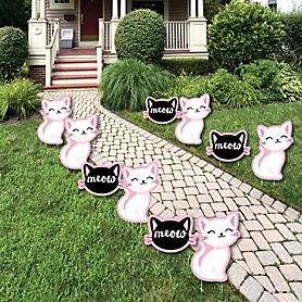 Purr-fect Kitty Cat - Lawn Decorations - Outdoor Kitten Meow Baby Shower or Birthday Party Yard Decorations - 10 Piece