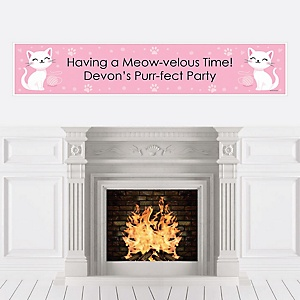 Purr-fect Kitty Cat - Personalized Kitten Meow Baby Shower or Birthday Party Banner