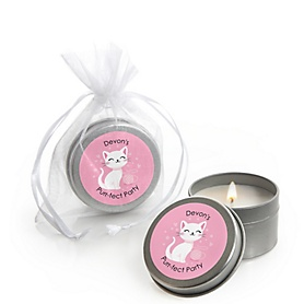 Purr-fect Kitty Cat - Kitten Meow - Personalized Party Candle Tin Favors - Set of 12
