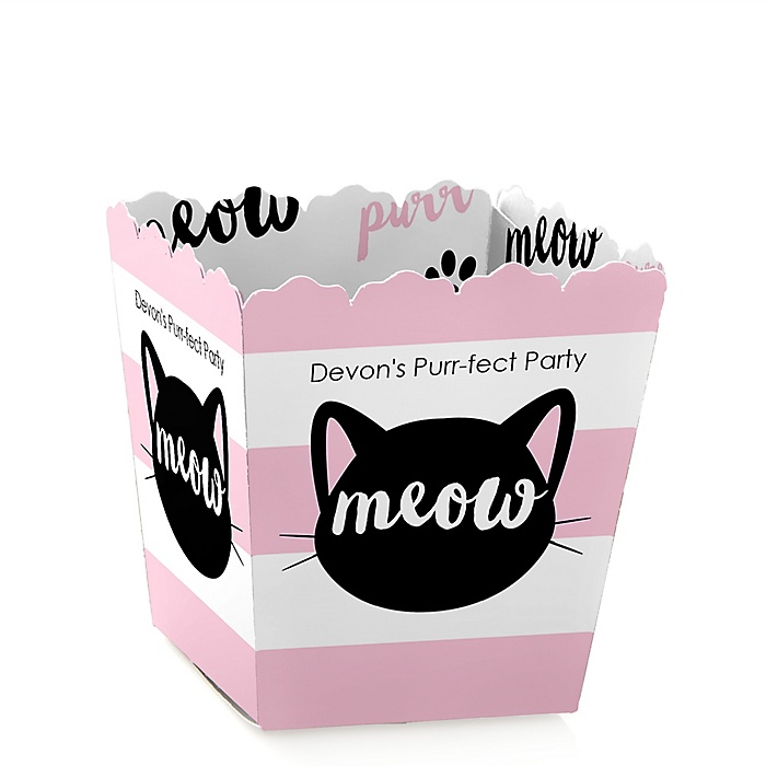 Purr-fect Kitty Cat - Party Mini Favor Boxes - Personalized Kitten Meow Baby Shower or Birthday Party Treat Candy Boxes - Set of 12
