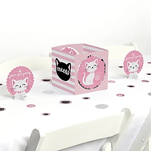 Purr-fect Kitty Cat - Kitten Meow Baby Shower or Birthday Party Centerpiece & Table Decoration Kit