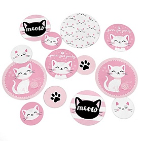 Purr-fect Kitty Cat - Kitten Meow Baby Shower or Birthday Party Giant Circle Confetti - Party Decorations - Large Confetti 27 Count