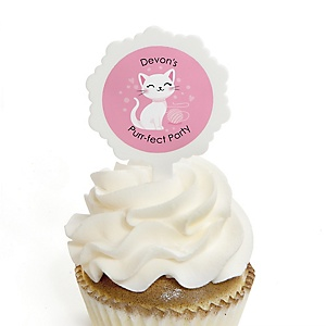 Purr-fect Kitty Cat - Personalized Kitten Meow Party Cupcake Picks and Sticker Kit - 12 ct