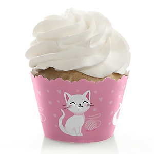 Purr-fect Kitty Cat - Kitten Meow Baby Shower or Birthday Party Decorations - Party Cupcake Wrappers - Set of 12