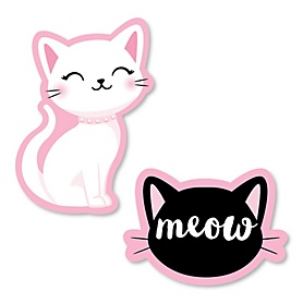 Purr-fect Kitty Cat - DIY Shaped Kitten Meow Baby Shower or Birthday Party Cut-Outs - 24 ct