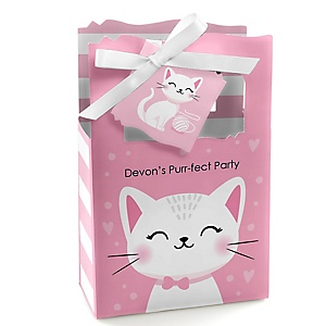 Purr-fect Kitty Cat - Personalized Kitten Meow Party Favor Boxes - Set of 12