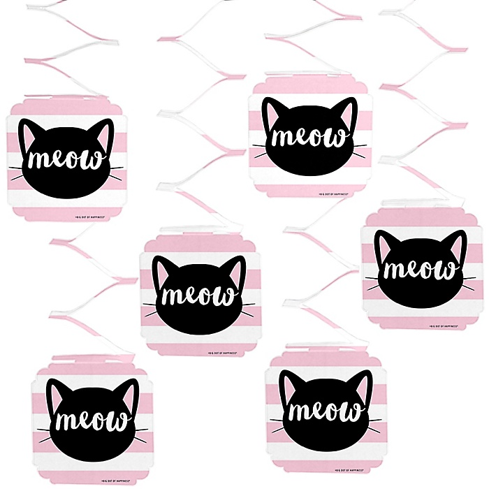 Purr-fect Kitty Cat - Kitten Meow Party Hanging Decorations - 6 ct