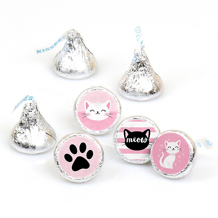 Purr-fect Kitty Cat - Kitten Meow Baby Shower or Birthday Party Round Candy Sticker Favors - Labels Fit Hershey's Kisses - 108 ct