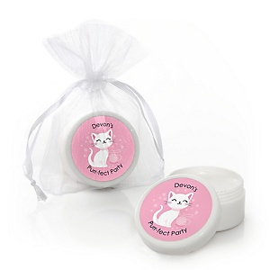 Purr-fect Kitty Cat - Personalized Kitten Meow Party Lip Balm Favors - Set of 12