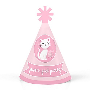 Purr-fect Kitty Cat - Personalized Mini Cone Kitten Meow Baby Shower or Birthday Party Hats - Small Little Party Hats - Set of 10