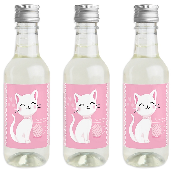 Purr-fect Kitty Cat - Mini Wine and Champagne Bottle Label Stickers - Kitten Meow Baby Shower or Birthday Party Favor Gift - For Women and Men - Set of 16