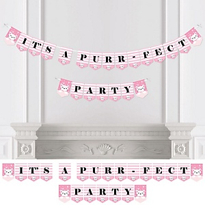 Purr-fect Kitty Cat - Kitten Meow Baby Shower or Birthday Party Bunting Banner - Party Decorations - It's a Purr-fect Party
