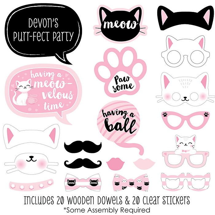 Purr-fect Kitty Cat - 20 Piece Kitten Meow Baby Shower or Birthday Party Photo Booth Props Kit