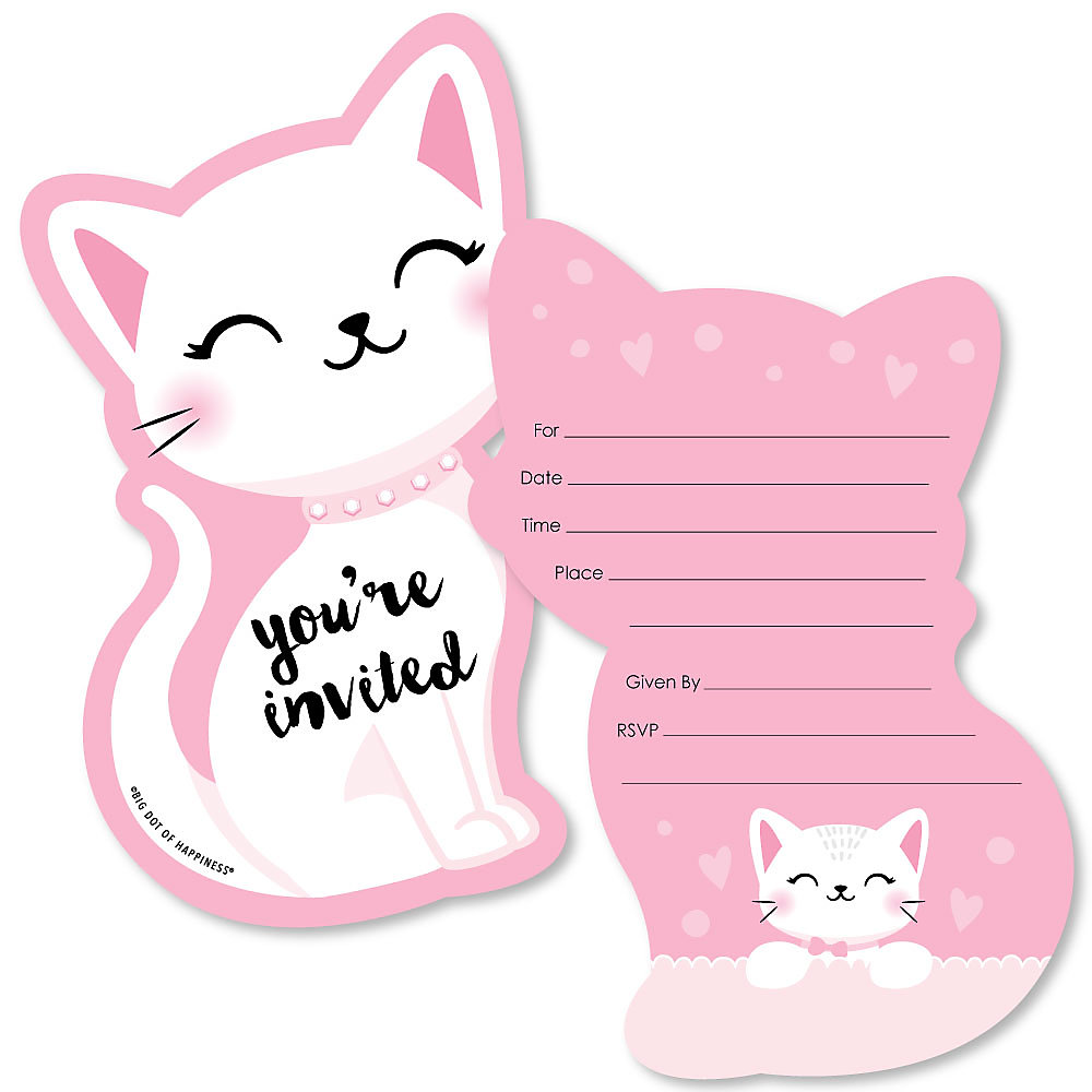 Purr Fect Kitty Cat Shaped Fill In Invitations Kitten Meow Baby Shower Or Birthday Party Invitation Cards With Envelopes Set Of 12