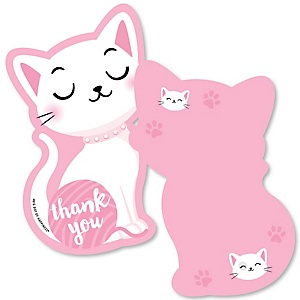 Purr-fect Kitty Cat - Shaped Thank You Cards - Kitten Meow Baby Shower or Birthday Party Thank You Note Cards with Envelopes - Set of 12