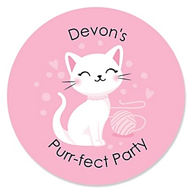 Purr-fect Kitty Cat - Personalized Kitten Meow Baby Shower or Birthday Party Sticker Labels - 24 ct