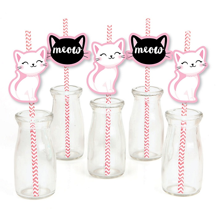 Purr-fect Kitty Cat - Paper Straw Decor - Kitten Meow Baby Shower or Birthday Party Striped Decorative Straws - Set of 24