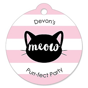 Purr-fect Kitty Cat - Round Personalized Kitten Meow Party Tags - 20 ct