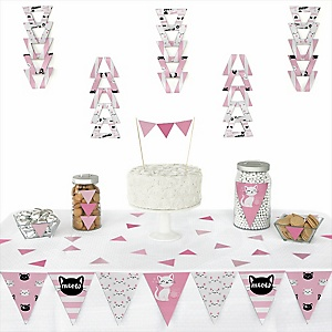 Purr-fect Kitty Cat - Triangle Kitten Meow Party Decoration Kit - 72 Piece