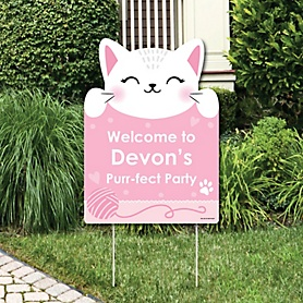 Purr-fect Kitty Cat - Party Decorations - Kitten Meow Baby Shower or Birthday Party Personalized Welcome Yard Sign