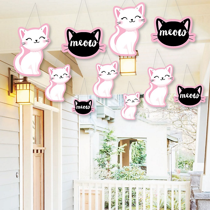 Hanging Purr-fect Kitty Cat - Outdoor Kitten Meow Baby Shower or Birthday Party Hanging Porch and Tree Yard Decorations - 10 Pieces