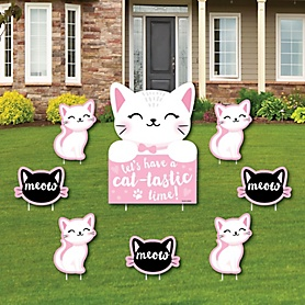 Purr-fect Kitty Cat - Yard Sign and Outdoor Lawn Decorations - Kitten Meow Baby Shower or Birthday Party Yard Signs - Set of 8