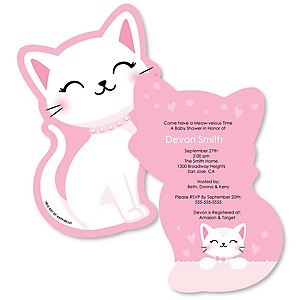 Purr-fect Kitty Cat - Shaped Kitten Meow Baby Shower invitations - Set of 12
