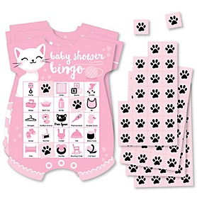 Purr-fect Kitty Cat - Picture Bingo Cards and Markers - Kitten Meow Baby Shower Shaped Bingo Game - Set of 18