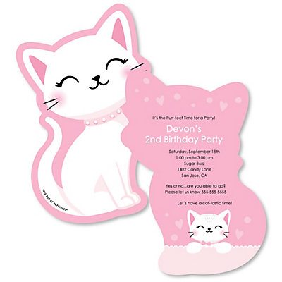 Purr Fect Kitty Cat Shaped Kitten Meow Birthday Party Invitations