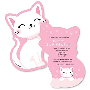 Purr-fect Kitty Cat - Shaped Kitten Meow Birthday Party Invitations - Set of 12