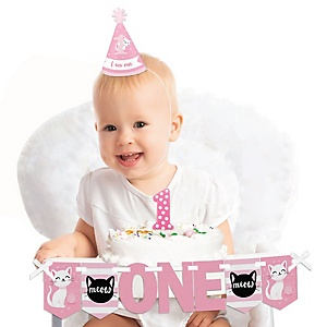 Purr-fect Kitty Cat 1st Birthday - First Birthday Girl Smash Cake Decorating Kit - High Chair Decorations