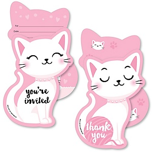 Purr-fect Kitty Cat - 20 Shaped Fill-In Invitations and 20 Shaped Thank You Cards Kit - Kitten Meow Baby Shower or Birthday Party Stationery Kit - 40 Pack