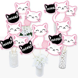 Purr-fect Kitty Cat - Kitten Meow Baby Shower or Birthday Party Centerpiece Sticks - Table Toppers - Set of 15