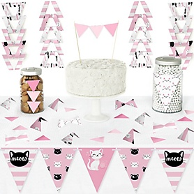 Purr-fect Kitty Cat - DIY Pennant Banner Decorations - Kitten Meow Baby Shower or Birthday Party Triangle Kit - 99 Pieces