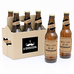Kraft Mustache - Decorations for Men - 6 Will You Be My Groomsman Beer Bottle Label Stickers and 1 Carrier