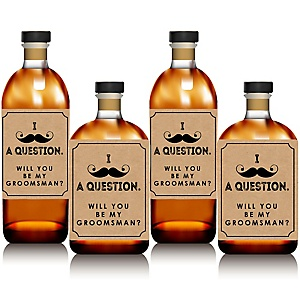 Kraft Mustache - Will You Be My Groomsman Whiskey or Decorations for Men - Wine Bottle Label Stickers - Set of 4