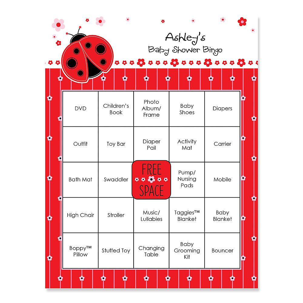 Modern Ladybug   Bingo Personalized Baby Shower Games   16 Count
