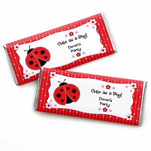 Modern Ladybug - Personalized Candy Bar Wrapper Baby Shower or Birthday Party Favors - Set of 24