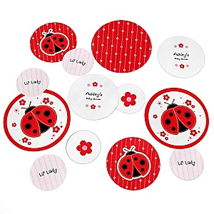 Modern Ladybug - Personalized Baby Shower Table Confetti - 27 ct