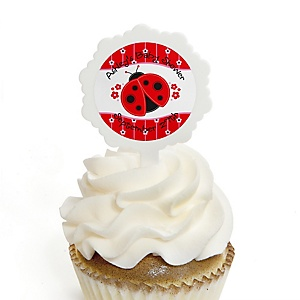 Modern Ladybug - 12 Cupcake Picks & 24 Personalized Stickers - Baby Shower Cupcake Toppers