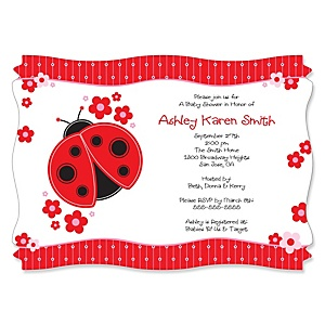 Modern Ladybug - Personalized Baby Shower Invitations - Set of 12