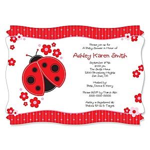 Modern Ladybug - Personalized Baby Shower Invitations