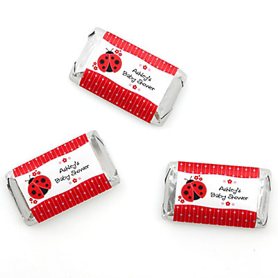 Modern Ladybug   Personalized Baby Shower Mini Candy Bar Wrapper Favors    20 Ct