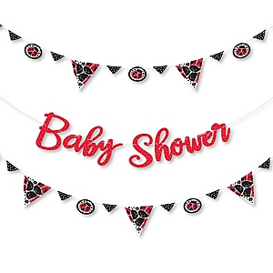 Happy Little Ladybug -  Baby Shower Letter Banner Decoration - 36 Banner Cutouts and Baby Shower Banner Letters