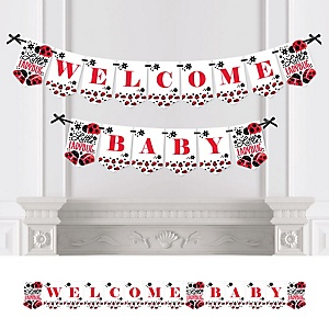 Modern Ladybug - Personalized Baby Shower Bunting Banner & Decorations